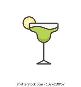 Margarita cocktail flat line colored icon.