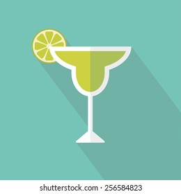 Margarita cocktail icon. Flat design. Vector illustration