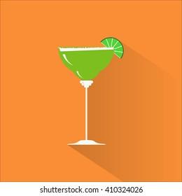 Margarita flat design icon. National Margarita day icon.