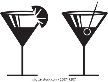 Margarita or Martini silhouettes with garnish