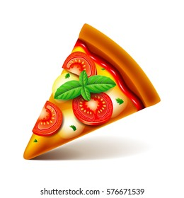 Margarita pizza slice isolated photo-realistic vector illustration