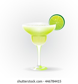 Margarita realistic cocktail glass lime slice isolated white background vector illustration. Alcoholic cocktail. Cocktail party, paper party invitation. Alcohol, Martini lime straw.