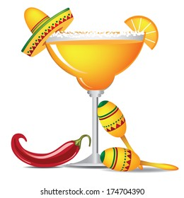 Margarita with sombrero, jalapeno and maracas EPS 10 vector, grouped for easy editing. Margarita is a traditional Mexican drink popular for Cinco de Mayo.