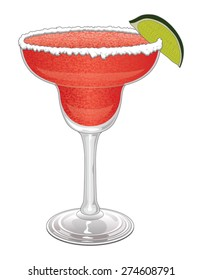 Margarita-Strawberry is an illustration of a frozen strawberry margarita with salt on the rim of the glass and a slice of lime.