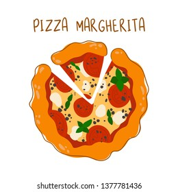 Margherita pizza with tomatoes and mozzarella cheese on white background, isolated object for design of banner or restaurant menu, Italian cuisine. Flat style and hand drawing. Vector graphics