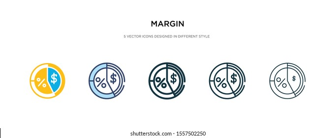 margin icon in different style vector illustration. two colored and black margin vector icons designed in filled, outline, line and stroke style can be used for web, mobile, ui