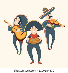 Mariachi band plays plays musical instruments. Mexican party. Set of vector illustrations.