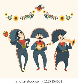 Mariachi band plays plays musical instruments. Mexican party. Set of vector illustrations. Mexican elements for decoration