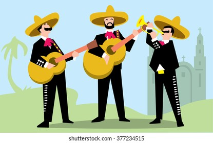 Mariachi Band in Sombrero with Guitar. Mexican Music Band.