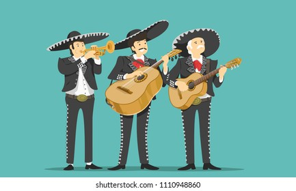 Mariachi band. Vector illustration.