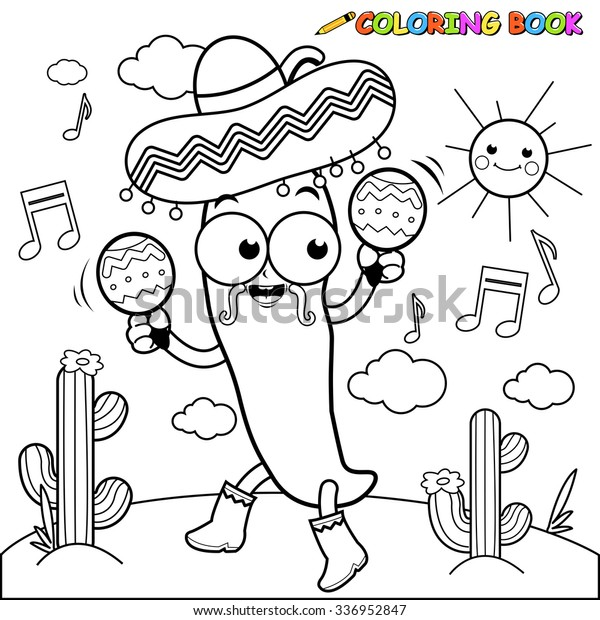Mariachi Chili Pepper Maracas Coloring Page | Nature, Food and ...
