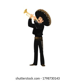 Mariachi mexican musician playing on trumpet isolated man in national costume. Vector latino music band character in sombrero hat, black jacket and trousers, traditional Cinco de Mayo mariachi