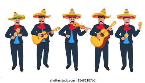 Mariachi. Mexican street musicians in national costumes with a guitar, guitarron, viola and maracas. Cinco de Mayo. 5th of May.