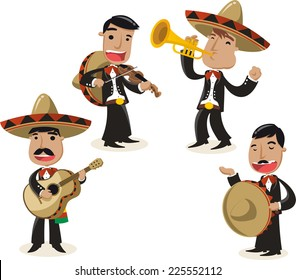 Mariachi music band musicians illustration