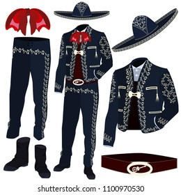 Mariachi musician costume parts and mariachi sombrero. Mexican and central american traditional charro outfit used at celebrations and special events. Vector illustration isolated on white background.