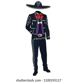 Mariachi musician costume and mariachi sombrero. Mexican and central american traditional charro outfit used at celebrations and special events. Vector illustration isolated on white background.