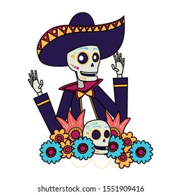 mariachi skull with floral decoration comic character vector illustration design