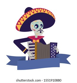 mariachi skull playing accordion comic character vector illustration design