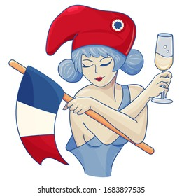 Marianne, symbol of France with a glass of french wine. A girl with a liberty cap of French revolution and a flag of France. Great for national day or Bastille Day.