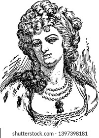 Marie Antoinette 1755 to 1793 she was the queen of France from 1774 to 1791 and queen of French from 1791 to 1792 vintage line drawing or engraving illustration