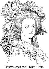 Marie Antoinette (1755-1793) portrait in line art illustration. She was the last queen of France who helped provoke the unrest that led to the French Revolution.