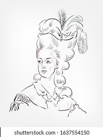 Marie Antoinette French  Queen vector sketch portrait isolated
