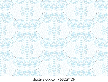 Marie Antoinette style damask pattern in pale baby blue.