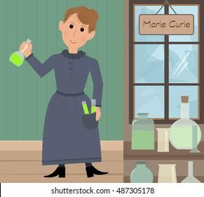 Marie Curie illustration - Cute cartoon of Marie Curie in her lab holding a test tube with radium. Eps10