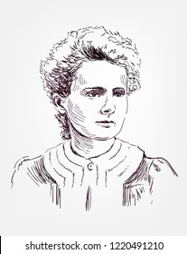 Marie Sklodowska Curie vector sketch portrait illustration editorial