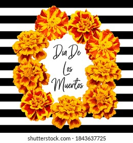 Marigold flower garland. Day of the dead. Halloween. Mexican garland of flowers. Religion festive holiday decoration. Vector illustration isolated on black background. Mexican Day of the dead frame
