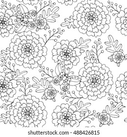 Marigold flowers with butterflies, seamless pattern, page for adult colouring book