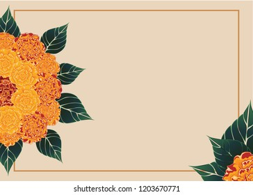 Marigold - Tagetes. Indian holiday Diwali. The illustration with traditional Flowers. Deepavali. Banner, cover,  invitation, greeting card.