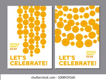 Marigolds geometric floral pattern in Indian style. Vector illustration for card, invitation. India traditional floral in decorative abstract style.