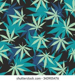 Marihuana Ganja Weed Seamless Vector Pattern