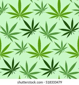 Marihuana hemp green pot grass background vector seamless patterns. Medical or drug hempseed natural leaf marijuana pattern