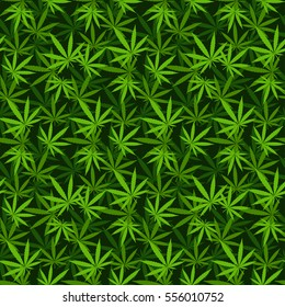 Marihuana hemp green pot grass background vector seamless patterns. Medical or drug hempseed natural leaf marijuana pattern