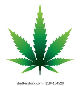 A marijauna cannabis leaf isolated on white illustration. Vector EPS 10 available.