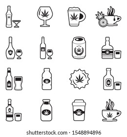Marijuana Beverages Icons. Line With Fill Design. Vector Illustration.