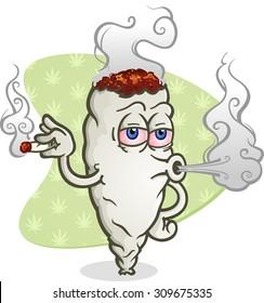 Marijuana Blowing Cannabis Smoke Cartoon Character