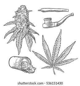 Marijuana buds, leaves, jar, cigarettes and pipe for smoking. Hand drawn design cannabis leave. Vintage black vector engraving illustration for label, poster, web. Isolated on white background