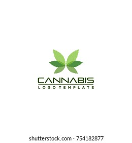 marijuana butterfly logo template