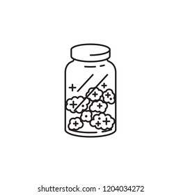 Marijuana Cannabis bud in glass jar vector black line art symbols on white background for commercial business medical marijuana cannabis health services website