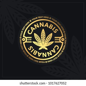Marijuana, cannabis emblem and logo graphic template