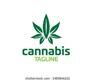 Marijuana, cannabis graphics line art, business Logo concept, medical emblem, green silhouette, packaging goods, usage in print and web, leaf vector illustration, logotype template