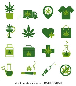 Marijuana, Cannabis icons. Set of medical marijuana icons. Marijuana leaf. Drug consumption. Marijuana Legalization. Isolated vector illustration.