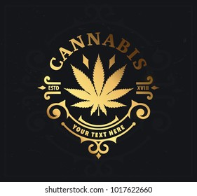Marijuana, cannabis label and logo graphic template.
