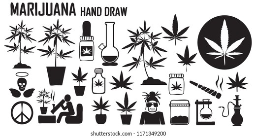 marijuana, cannabis, leaf, weed, medical, drug  flat icons. mono vector symbol
