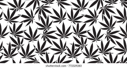Marijuana cannabis leaf weed vector weed Seamless Pattern background wallpaper