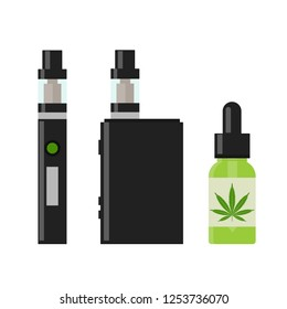 Marijuana Cannabis liquid for Vaping. Vape Cannabis Oil. Cannabis vaporizer. E-cigarette for vaping. Isolated vector illustration on white background.