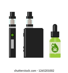 Marijuana Cannabis liquid for Vaping. Vape Cannabis Oil. Cannabis vaporizer. E-cigarette for vaping. Isolated vector illustration on white background.